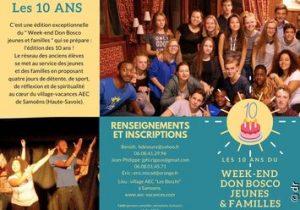 Week-end Don Bosco jeunes et familles. Inscrivez-vous pour les 10 ans