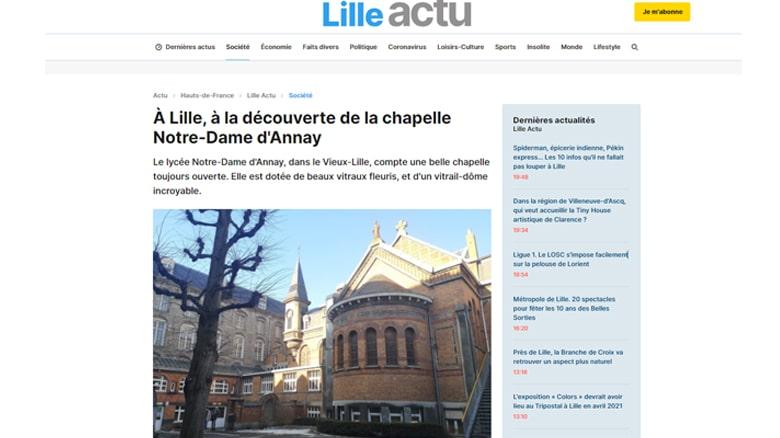 La chapelle du lycée Notre-Dame-d'Annay et « son trésor » ont les honneurs du site actu.fr
