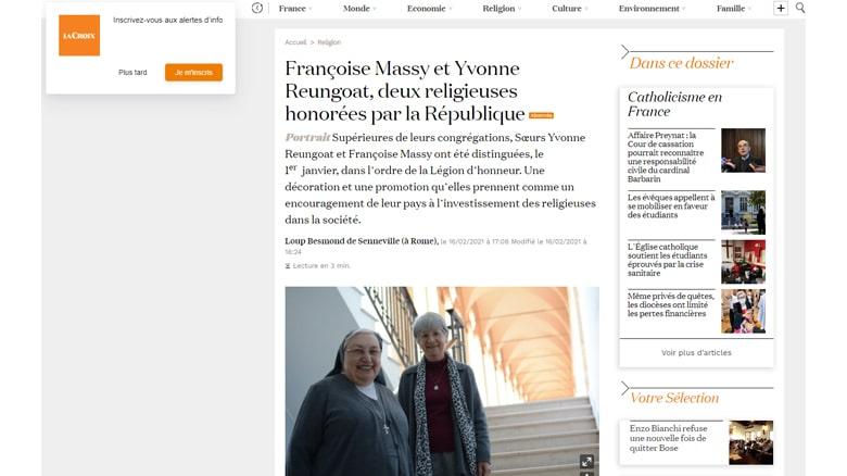 Le quotidien La Croix rencontre mère Yvonne Reungoat, « honorée par la République »