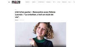 Le média culturel maze.fr met à l'honneur Félicie Lacroix et son Fé Studio