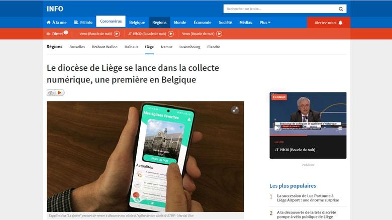 En Belgique, le journal de la RTBF va « à la quête » dans notre paroisse de Liège